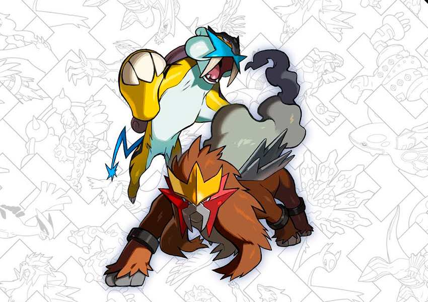 Los Pokémon legendarios Entei Y Raikou estarán disponibles en abril